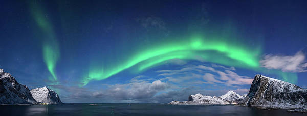 Wall Art - Photograph - Aurora Borealis Above Flaget Bay by Panoramic Images