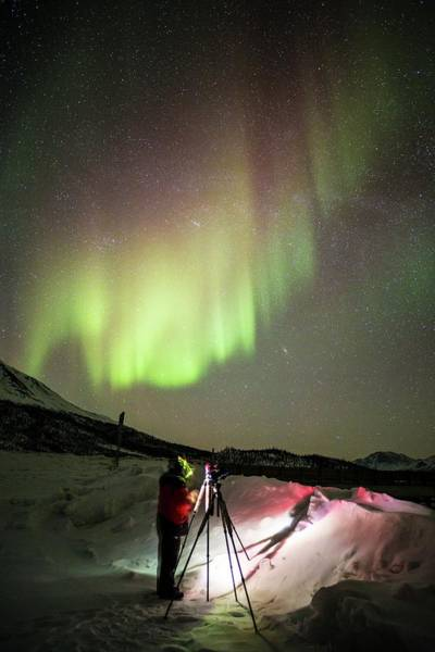 Boreal Forest Photograph - Aurora Borealis And Photographer by Chris Madeley