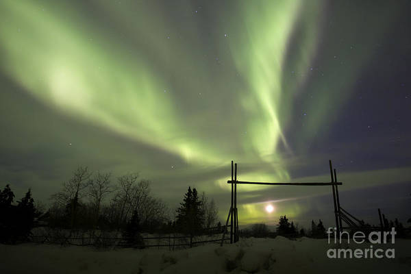 Photograph - Aurora Borealis With Moon And Gate by Joseph Bradley