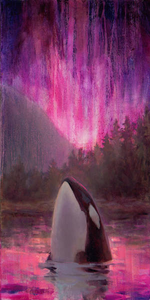Sealife Painting - Orca Whale And Aurora Borealis - Killer Whale - Northern Lights - Seascape - Coastal Art by Karen Whitworth