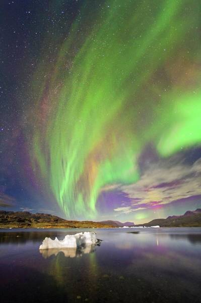 Coloured Photograph - Aurora Over Iceberg Greenland by Juan Carlos Casado (starryearth.com)