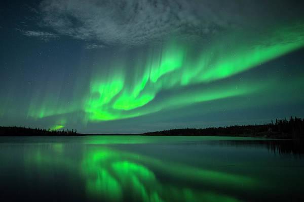 Yellowknife Wall Art - Photograph - Aurora With Reflection On Lake by Michael Ericsson