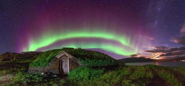 Mud House Photograph - Auroral Over Viking House by Juan Carlos Casado (starryearth.com)
