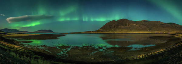 Landforms Photograph - Auroras Over Hraunsfjordur Fjord by Panoramic Images