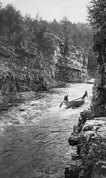 Chasm Photograph - Ausable River Rapids by Underwood Archives