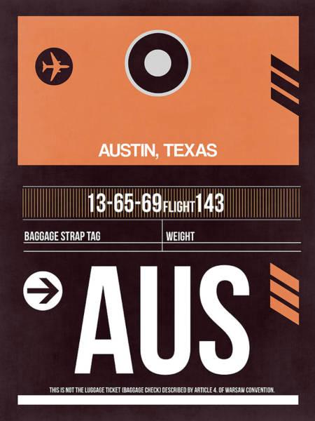 Travel Digital Art - Austin Airport Poster 2 by Naxart Studio