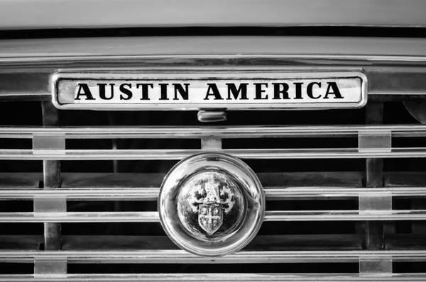 Photograph - Austin America Grille Emblem -0304bw by Jill Reger