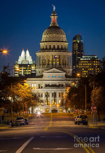 Texas Capitol Photograph - Austin Congress Avenue by Inge Johnsson
