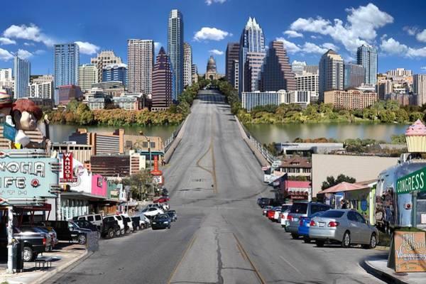 Capital Of Texas Wall Art - Digital Art - Austin Congress Avenue Photomontage by Sort Of Cool
