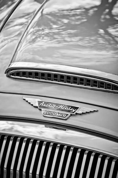 Healey Photograph - Austin-healey 3000 Mk II Hood Emblem -0567bw by Jill Reger