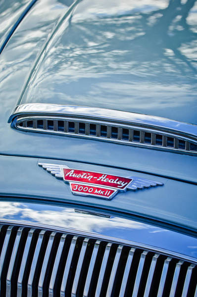 Healey Photograph - Austin-healey 3000 Mk II Hood Emblem -0567c by Jill Reger