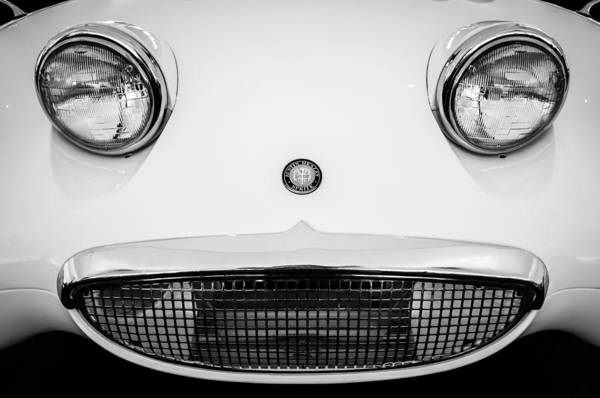 Photograph - Austin Healey Sprite - Bugeyed - Grille Emblem -0046bw by Jill Reger