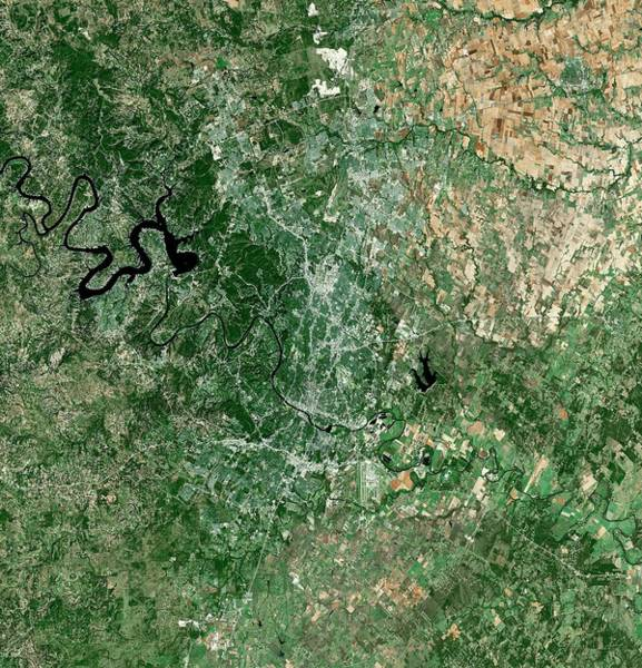 Landsat 7 Wall Art - Photograph - Austin by Mda Information Systems
