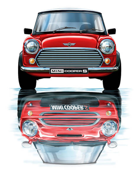 Mini Cooper Wall Art - Digital Art - Austin Mini Cooper With New Bmw Mini Cooper Reflected by David Kyte