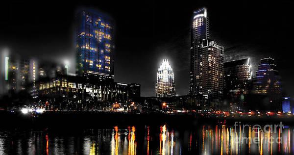 Downtown Austin Photograph - Austin Night Skyline Reflections  by Gary Gibich