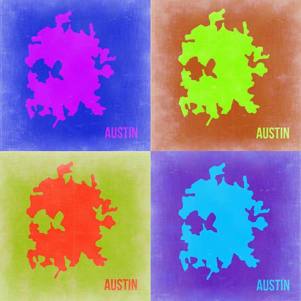 Wall Art - Painting - Austin Pop Art Map 2 by Naxart Studio