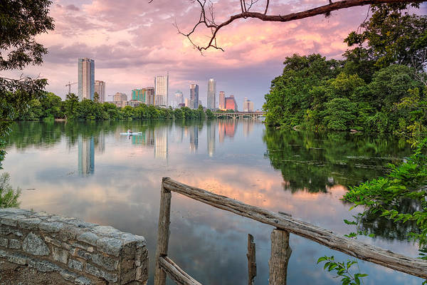 Texas Landscape Photograph - Austin Skyline From Lou Neff Point by Silvio Ligutti