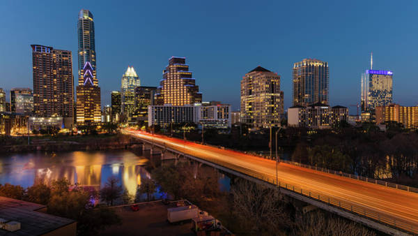 Downtown Austin Photograph - Austin, Texas Cityscape Evening Skyline by Panoramic Images