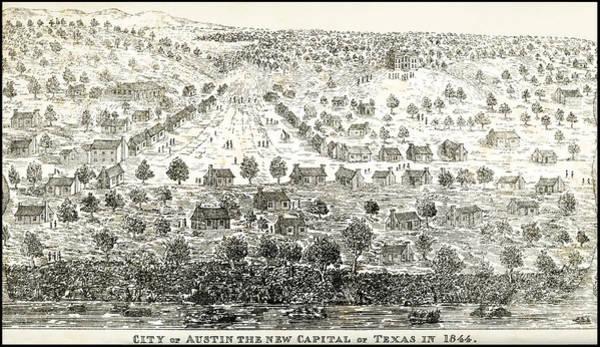 Capital Of Texas Wall Art - Digital Art - Austin Texas New Capital 1844 by Daniel Hagerman
