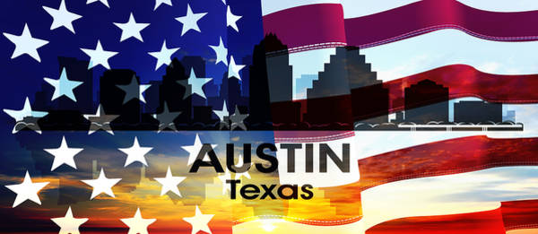 Digital Art - Austin Tx Patriotic Large Cityscape by Angelina Tamez