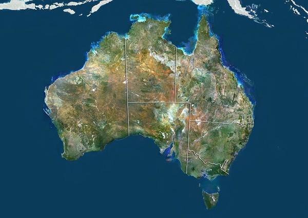 Wall Art - Photograph - Australia, Satellite Image by Science Photo Library