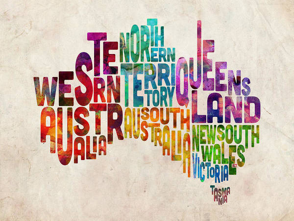 Text Map Digital Art - Australia Typographic Text Map by Michael Tompsett