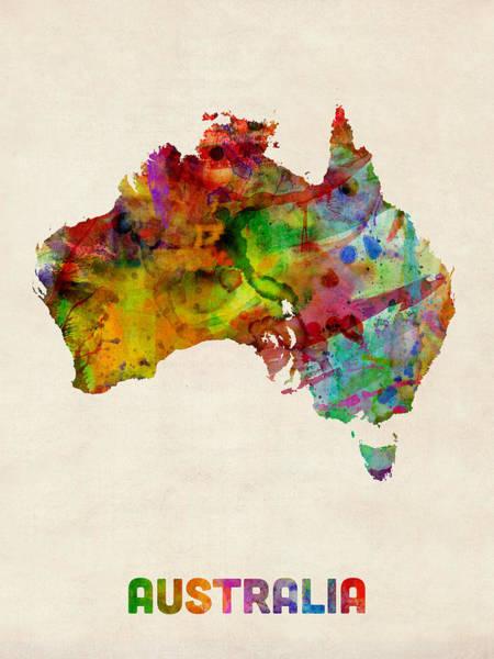 Splash Digital Art - Australia Watercolor Map by Michael Tompsett
