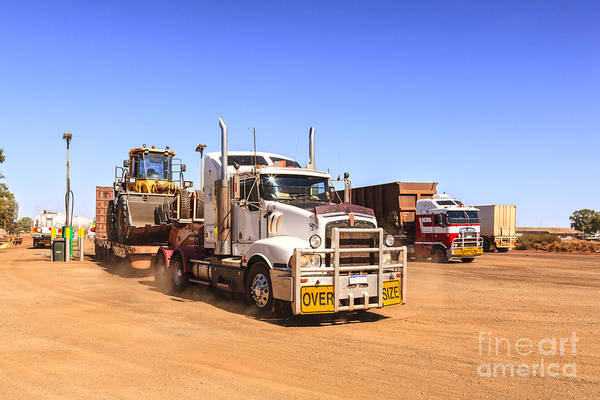 Semi Truck Photograph - Australian Outback Truck Stop by Colin and Linda McKie