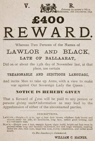 Hundred Wall Art - Drawing - Australian Reward Poster, 1854 by Australian School