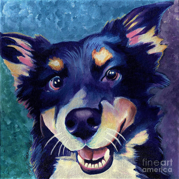 Painting - Australian Shepard Dog Portrait by Robyn Saunders