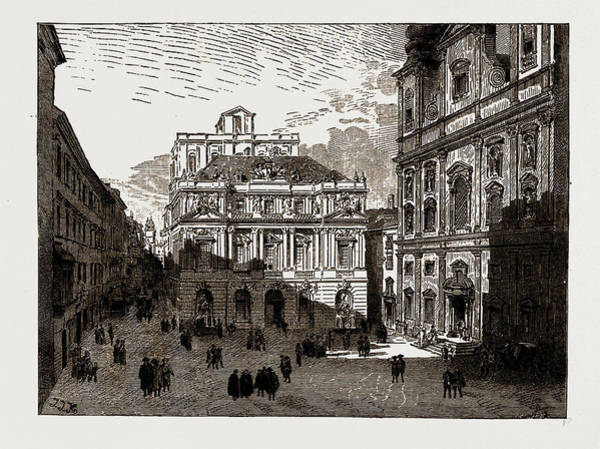 Old Style Drawing - Austria-hungary, 1886 The Old University Platz by Litz Collection