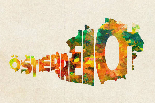 Wall Art - Painting - Austria Typographic Watercolor Map by Inspirowl Design