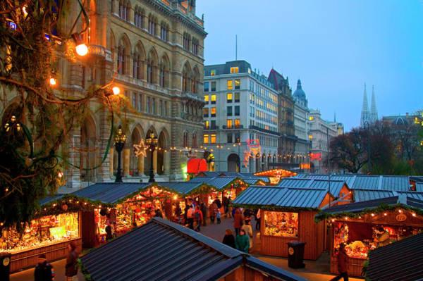 Rathaus Photograph - Austria, Vienna, Christmas Market by Miva Stock