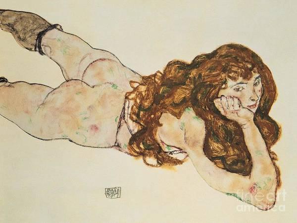 Austrian Painting - Austria Vienna Female Nude Lying On Her Stomach by Egon Schiele