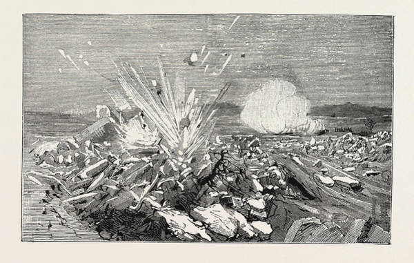Galicia Drawing - Austrian Artillery Demolishing By Cannon Shot A Dam Of Ice by Austrian School