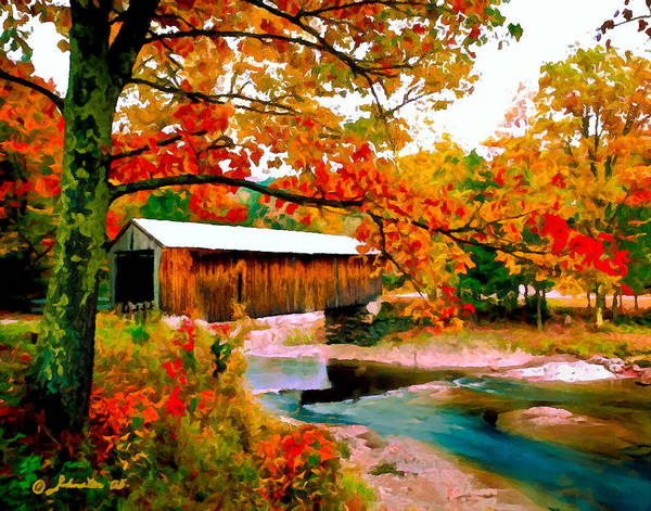 Painting - Authentic Covered Bridge Vt by Bob and Nadine Johnston