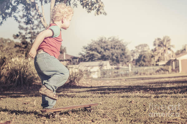Little Person Wall Art - Photograph - Authentic Faded Brown Vintage Skater Child by Jorgo Photography - Wall Art Gallery