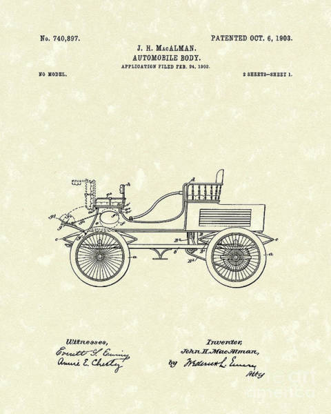 Automobile Drawing - Auto Body 1903 Patent Art by Prior Art Design