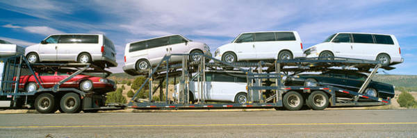 Trailer Photograph - Auto Transporter, Gm Vans, Route 40 by Panoramic Images