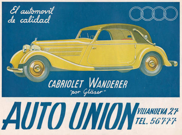 Advertising Drawing - Auto Union Audi 1930s Usa Cc Cars by The Advertising Archives