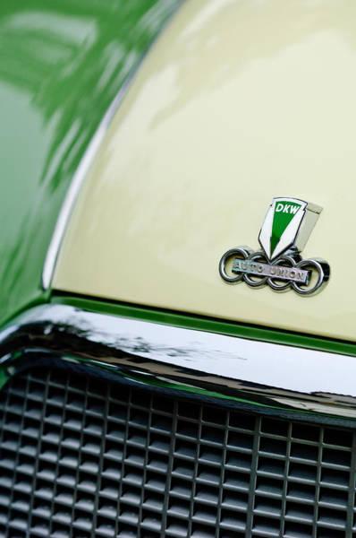 Auto Show Photograph - Auto Union Dkw Hood Emblem by Jill Reger