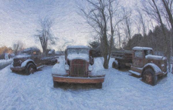 Photograph - Autocar Trucks In Snow by Tom Singleton