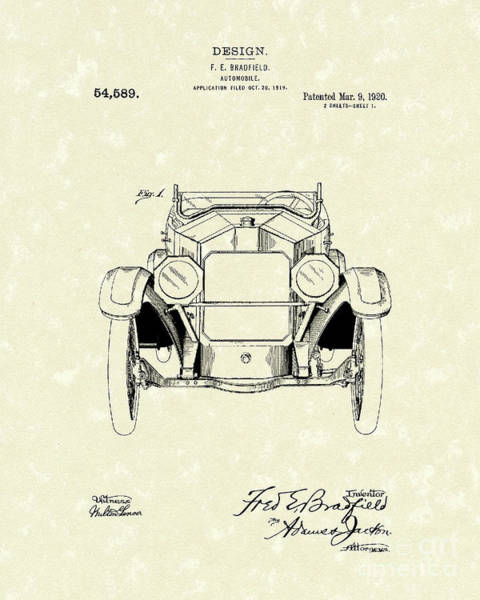 Drawing - Automobile 1920 Patent Art by Prior Art Design
