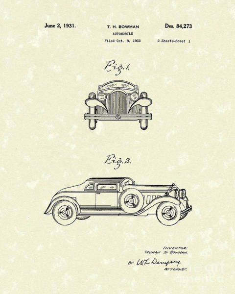 Vehicle Drawing - Automobile 1931 Patent Art by Prior Art Design
