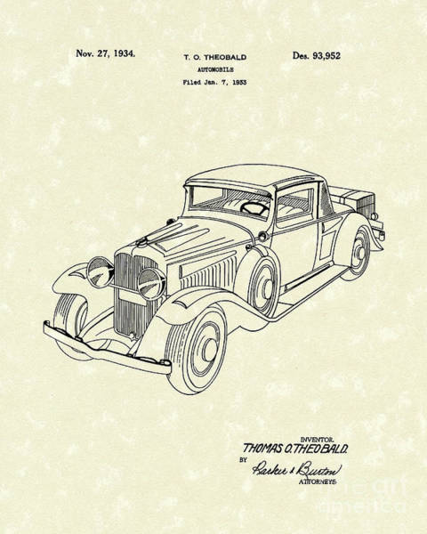 Automobile Drawing - Automobile 1934 Patent Art by Prior Art Design
