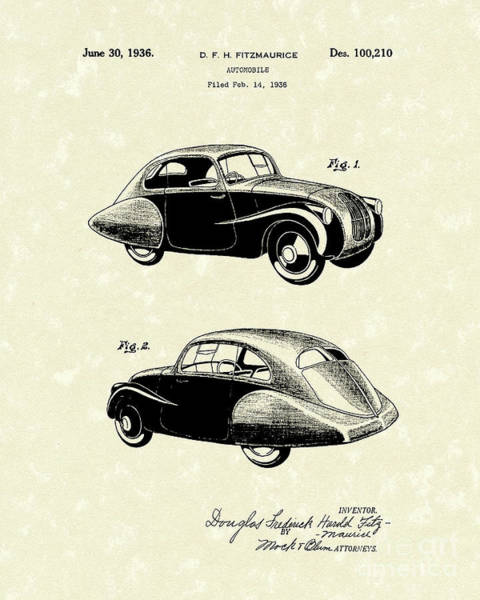 Automobile Drawing - Automobile 1936 Patent Art by Prior Art Design