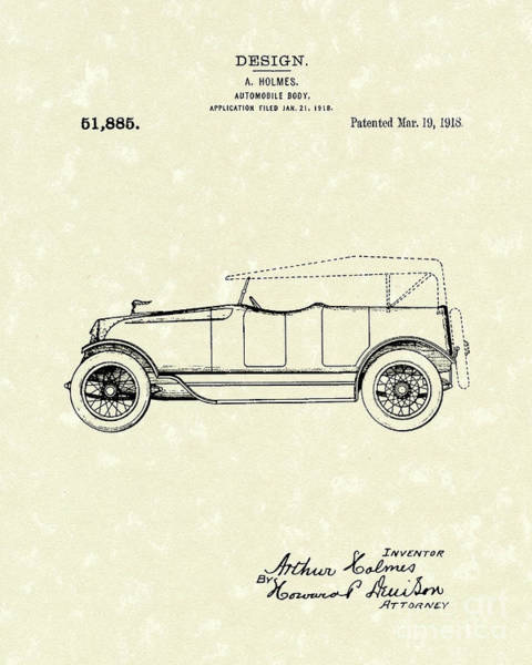 Automobile Drawing - Automobile Body 1918 Patent Art by Prior Art Design
