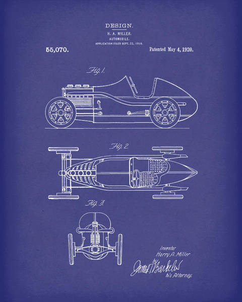 Drawing - Automobile Miller 1920 Patent Art Blue by Prior Art Design