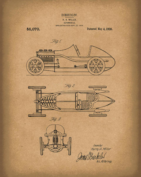 Drawing - Automobile Miller 1920 Patent Art Brown by Prior Art Design