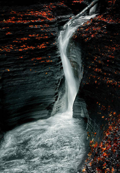 Water Fall Photograph - Autume by Larry Deng